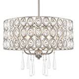 Kira Home Amelia 18' Modern Chic 4-Light Crystal Chandelier Pendant Light, Brushed Nickel Finish