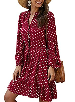 Mini dress with polka dot pattern print is delicate and artistic to meet fashion taste. You can wear the fancy dress for a comfortable and lightweight wearing experience. The tie waist dress with V-neck, buttons and long sleeves is classic and easy-t...