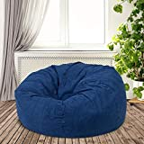 Multi Functional Oversized Bean Bag Chair for Adults | Denim Blue Home Decor Cool Casual Modern | Memory Foam Cushy Soft Plush Cozy Fun Comfortable Lightweight Design Pouf Ottoman Solid