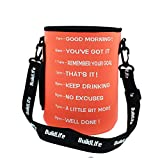 QuiFit Water Bottle Sleeve with Time Marker Water Bottle Shoulder Strap,Multiple Ways of Use,Suitable for Gallon Water Bottle (Orange)
