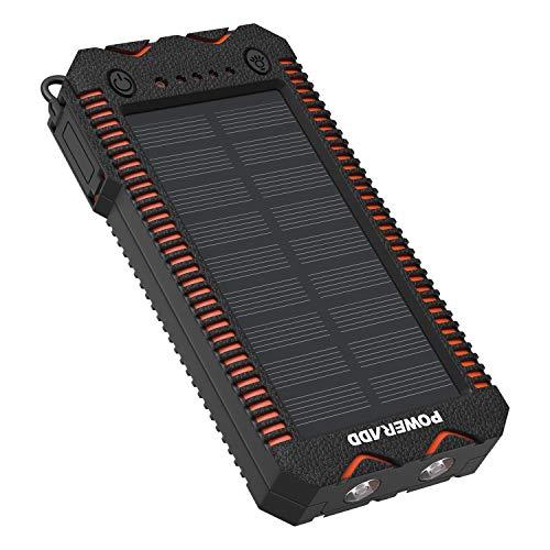 POWERADD Apollo2 Powerbank Solare Caricabatteria Portatile 12000mAh con Pannello Solare e Torcia a 2 LED SOS 2 Uscita USB e Accendisigari Integrato Ricarica Rapida per iPhone/iPad/Smartphone/Tablet