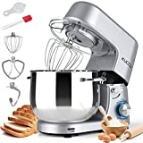 KUCCU Stand Mixer, 8.5 Qt 660W, 6-Speed Tilt-Head Food Dough Mixer, Electric Kitchen Mixer with Dough Hook, Flat Beater & Wire Whisk, Mixing Bowl (8.5-QT, Silver)