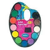 Peinture aquarelle pour Enfants Set de 12 Couleurs Maquillage + Brosse Art...