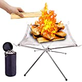 SUCHDECO Portable Fire Pit Outdoor for Camping- Large Size 28 Inch Upgrade Camping Fire Pit Foldable, Mesh Fire Pits Portable Fireplace for Camping Backyard and Wood Burning Camping, and Garden