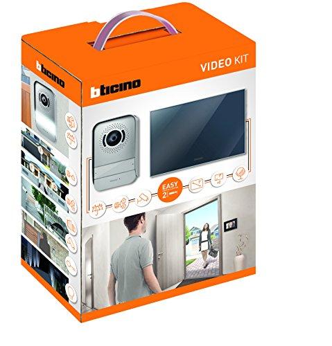 BTicino 317013 Kit Videocitofono 2 Fili Finitura Specchio Mono/Bifamigliare, Display 7 pollici a colori, Compatibilità con telecamera IP 391438