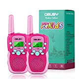 Obuby Walkie Talkies for Kids, 22 Channels 2 Way Radio Kid Gift Toy 3 KMs Long Range with Backlit LCD Flashlight Best Gifts Toys for Boys and Girls to Outside Adventure, Camping (Pink)