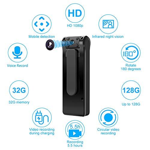 Telecamera spia telecamera nascosta-Mini fotocamera corpo macchina Durata della batteria di 6 ore Scheda da 32GB inclusa Telecamera spia 1080P Rilevazione del movimento personale per casa e ufficio