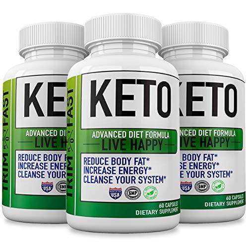 (3 Pack) Trim Fast Keto, Trim Fast Keto Pills - Keto Body Trim Fast Burn Supplement for Energy - BHB Ultra Boost Exogenous Ketones for Rapid Ketosis for Men Women 1