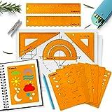 Kit Géométrie et Pochoirs Bullet Journal,Fournitures Accessoires Ensembles de Géométrie pour École Scrapbooking 12 Pièces