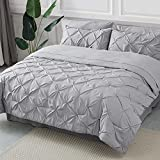 Bedsure Queen Comforter Set - Bed in A Bag 8 Pieces , Pinch Pleat Grey Bedding Comforter Set for Queen Bed with Sheets