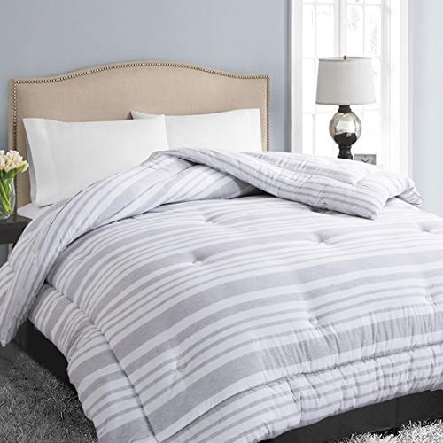 EASELAND All Season Twin Size Soft Quilted Down Alternative Comforter Hotel Collection Reversible Duvet Insert with Corner Tabs,Winter Warm Fluffy Hypoallergenic,Grey White Stripe,64 by 88 Inches