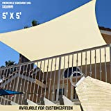 TANG Sunshades Depot 5' x 5' Sun Shade Sail Square Permeable Canopy Beige Customize Commercial Standard 180 GSM HDPE