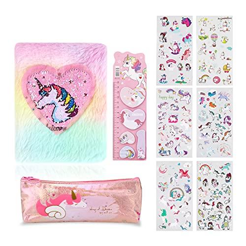 HIFOT Set di Cancelleria Unicorno per Ragazze, Kawaii Unicorn Adesivi Astuccio Unicorno Stick Notes Peluche Quadernino Diari di Unicorno Cancelleria Regalo di Compleanno Ragazza