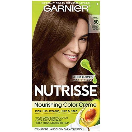 Garnier Nutrisse Nourishing Hair Color Creme, 50 Medium Natural Brown (Truffle) (Packaging May Vary)