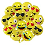 15-Pack 18' Emoji Party Supplies Favor Balloons, 18 inch Smiley Face Foil Mylar Balloon, Yellow Reusable Helium Emoticon Balloon for Holiday Wedding Birthday Decorations Teens Girls Children Kids Gift