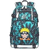 GOYING Uzumaki Naruto/Uchiha Sasuke/Sharingan Anime Cosplay Bookbag College Bag Mochila Mochila Escolar con Puerto de Carga USB-H