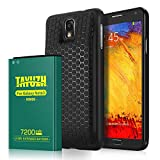 TAYUZH Note 3 Battery | 7200mAh Replacement Extended Li-ion Battery Compatible Samsung Galaxy Note 3 N9000, N9005, N900A, N900V, N900P, N900T with Back Cover & Soft TPU Case [24 Month Warranty]