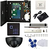 TCP/IP Single Door Security Access Control System with 600lbs Electric Magnetic Lock Exit Motion Sensor 110V-240V Power Supply Box FRID Keypad Reader