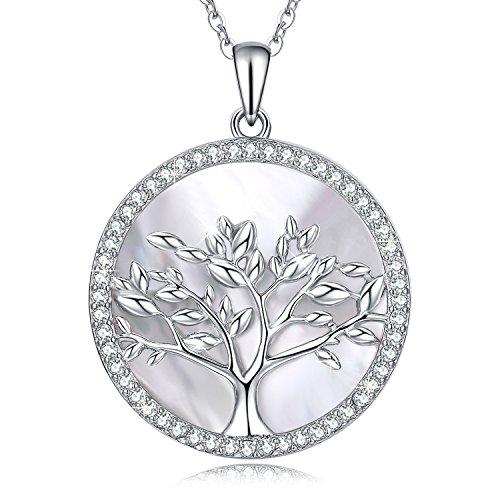 MEGA CREATIVE JEWELRY Collar Arbol de la Vida Colgante para Mujer Regalo Madre Esposa Abuela Joyas Plata 925 con Cristales Nácar