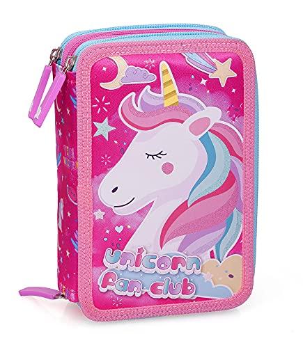 Unicorno 14174 Astuccio Triplo Riempito, 44 Accessori Scuola, 20 Centimetri