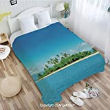AngelDOU Sofa Blanket air Conditioner Blanket W31 xL47 Uninhabited Island at Philippines Beach Palm Trees Forest Tropical Vacation Picture for Car Bedroom Home Decorative.