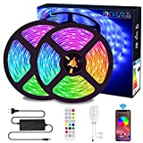 Ruban LED Bluetooth, ALED LIGHT Bande LED Étanche 2x5M(10M) 5050 RGB 150...