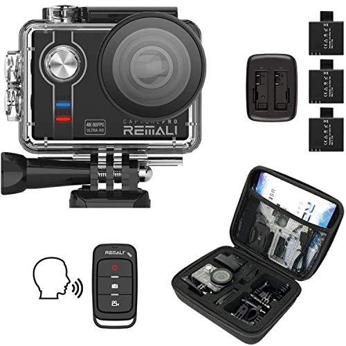 "REMALI CapturePro 4K/60fps 20MP Waterproof Sports Action Camera Kit with Carrying Case + 3 Batteries, WiFi, 2"" Touch Screen, 8X Zoom, Slow/Fast Motion, Remote/Voice Control, EIS, Distortion Correction"