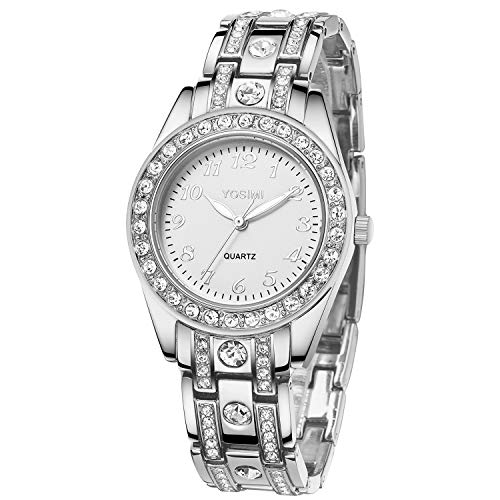 Orologio donna YOSIMI con display analogico e bracciale Numeri stile arabo argento lussuoso Forma...