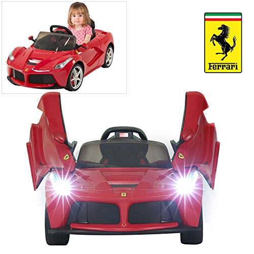 Modern-Depo LaFerrari Ride On Car with Remote Control for Kids, 12V Battery Powered Official Licensed Kids Car to Drive, MP3, Leather Seat, LED Lights, Openable Scissor Doors