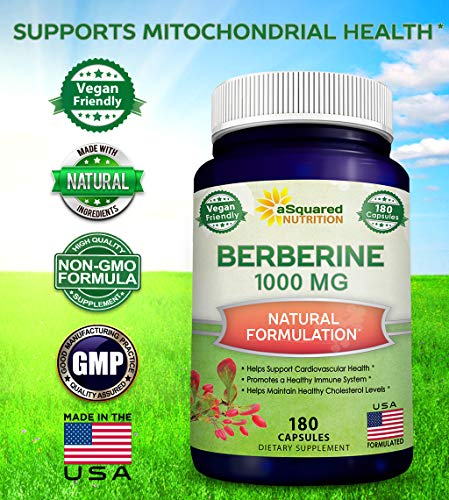 Pure Berberine 1000mg Supplement - 180 Veggie Capsules, Natural Berberine Hydrochloride HCL Plus, Max Strength 1000 mg (2X 500mg), Potent Vegan Extract for Healthy Blood Sugar Levels & Blood Glucose 6