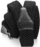 Decalen Bretelles Homme Larges Réglable Élastique Extra Fort 3 Clips en forme Y (Noir)