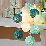Guirlande Lumineuse Coton Boules Batterie - 3.3M 20 lumières LED Éclairage pour Chambre Rideau Fête Noël Anniversaire Halloween Mariage Chambre de Bébé Romantique Décor