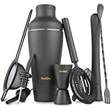 VonShef Matte Black Parisian Cocktail Shaker Set in Gift Box with 17oz...