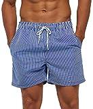 SILKWORLD Men's Board Shorts Swim Trunks Quick Dry Summer Beachwear with Pockets,Striped,Large