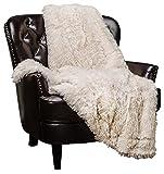 Chanasya Shaggy Longfur Faux Fur Throw Blanket - Fuzzy Lightweight Plush Sherpa Fleece Microfiber Blanket - for Couch Bed Chair Photo Props (50x65 Inches) Cream