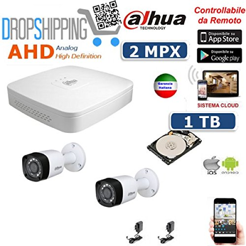 GENERAL TRADERS - KIT VIDEOSORVEGLIANZA AHD DAHUA TELECAMERE INFRAROSSI 2 MPX IP CLOUD DVR HD 1 TB