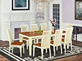 QUIP9-WHI-W 9 Pc set with a Dining Table and 8 Dinette Chairs in Buttermilk and Cherry