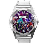 TAPORT® Reloj de cuero plateado para los fans de Fortnite.