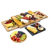 SMIRLY Cheese Board and Knife Set: Large Charcuterie Board Set, Cheese Platter Board, Bamboo Cheese...