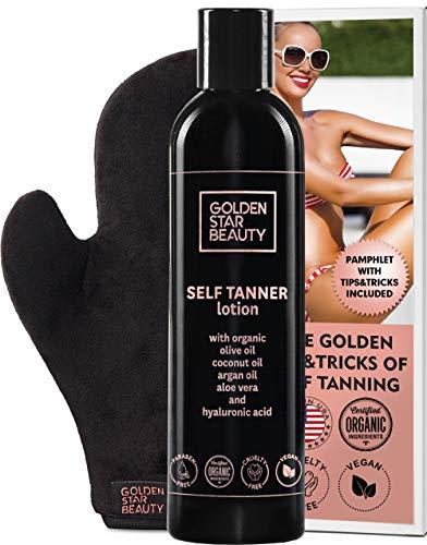 Self Tanner with Tanning Mitt - Sunless Tanning Lotion w/Hyaluronic Acid & Organic Oils Gradual Body Bronzer for Light or Medium Tan 8.0 fl.oz