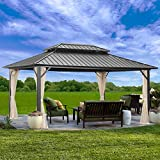 Outdoor Patio Hardtop Gazebo with Netting,Galvanized Steel Double Roof Canopy Gazebo,Aluminum Frame for Patio,Garden,Backyard ,Lawn and Deck,Black(10x12ft)