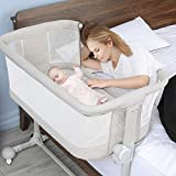 Baby Bassinet Newborn, Bable Baby Bassinet Bedside Sleeper for Infants, Co Sleeper for Newborn, 6 Height Adjustable Bassinet Side-Sleeper, Newborn Baby Crib Bed with Wheels