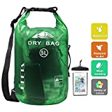 HEETA Waterproof Dry Bag for Women Men, Roll Top Lightweight Dry Storage Bag Backpack with Phone Case for Travel, Swimming, Boating, Kayaking, Camping and Beach, Transparent Green 5L