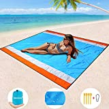 BMHNOONE Sand Free Beach Blanket, Oversize Sand Free Beach mat 82'x79',Portable Outdoor Beach Blanket for Beaches,Camping,Hiking and Picnic- Lightweight Quick Drying Heat Resistant