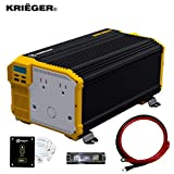 Krieger 3000 Watts Power Inverter 12V to 110V, Modified Sine Wave Car Inverter, Dual 110 Volt AC Outlets, Hardwire Kit, DC to AC Converter with Installation Kit - MET Approved to UL and CSA Standards