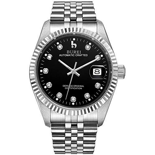 BUREI Luxus Herrenuhr mechanische Automatik Armbanduhr 24 Dial Analog Display Automatikuhr Lederband Edelstahlarmband Wasserdicht Stylish Armbanduhren (Silber-Schwarz)