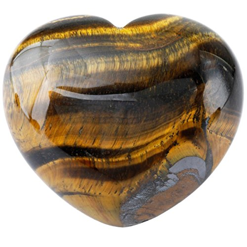 Zungtin Healing Crystal Tiger's Eye Heart Love Carved Palm...
