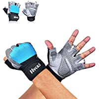 ✅ PROTECT YOUR HANDS AND IMPROVE YOUR GRIP : Our gloves with wrist support wrap designed for Anti-Slip and strong protection against painful calluses and blisters. Silicone material on palm provides Great Grip with right amount of padding cover the p...