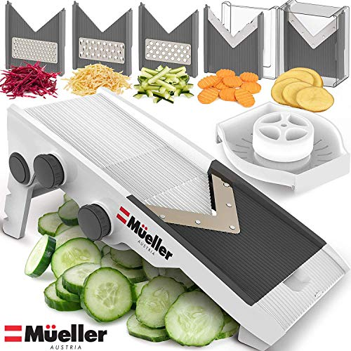 Mueller Austria Premium Quality V-Pro Multi Blade Adjustable Mandoline Cheese/Vegetable Slicer, Shredder with Precise Maximum Adjustability