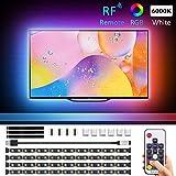 TV Ruban LED avec Télécommande RF 5050 RGB+Blanc 6000K, Novostella 2M...
